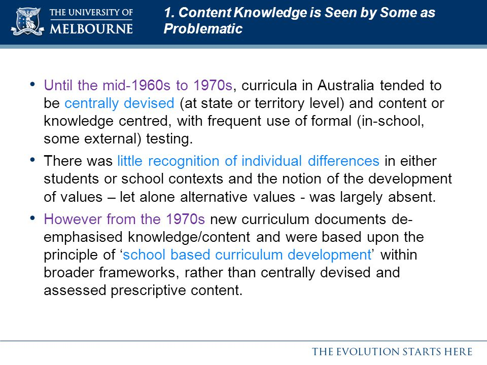 1. Content Knowledge is Seen by Some as Problematic