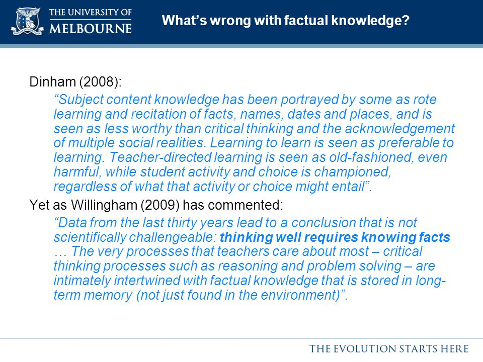 What's wrong with factual knowledge