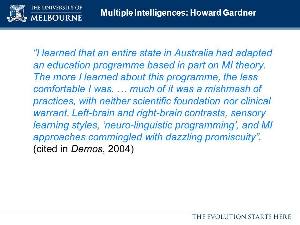Multiple Intelligences: Howard Gardner