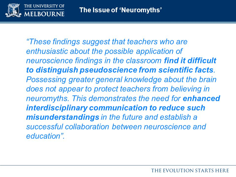 The Issue of 'Neuromyths'