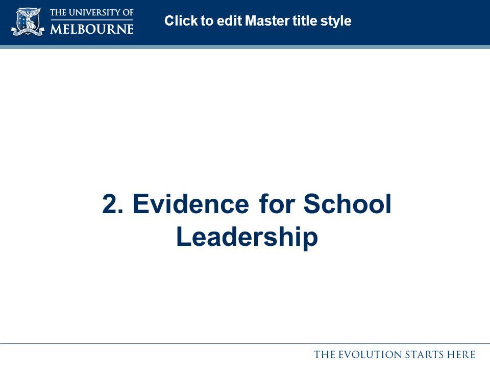 2. Evidence for School Leadership