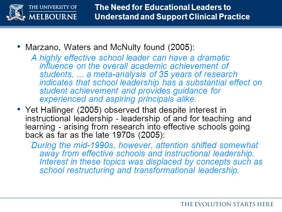 Marzano, Waters and McNulty found (2005):