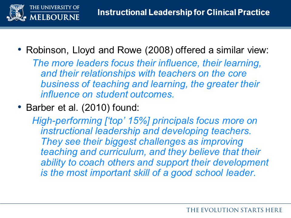 Instructional Leadership for Clinical Practice