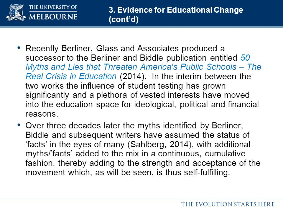 3. Evidence for Educational Change (cont'd)