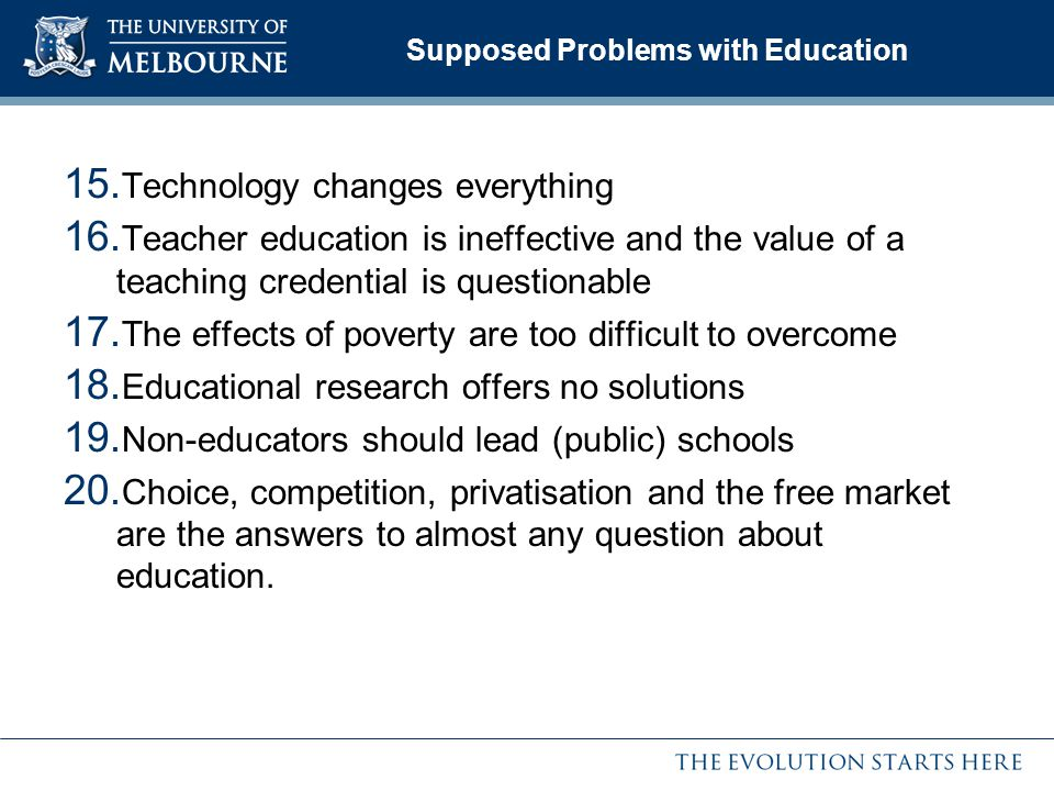 Supposed Problems with Education