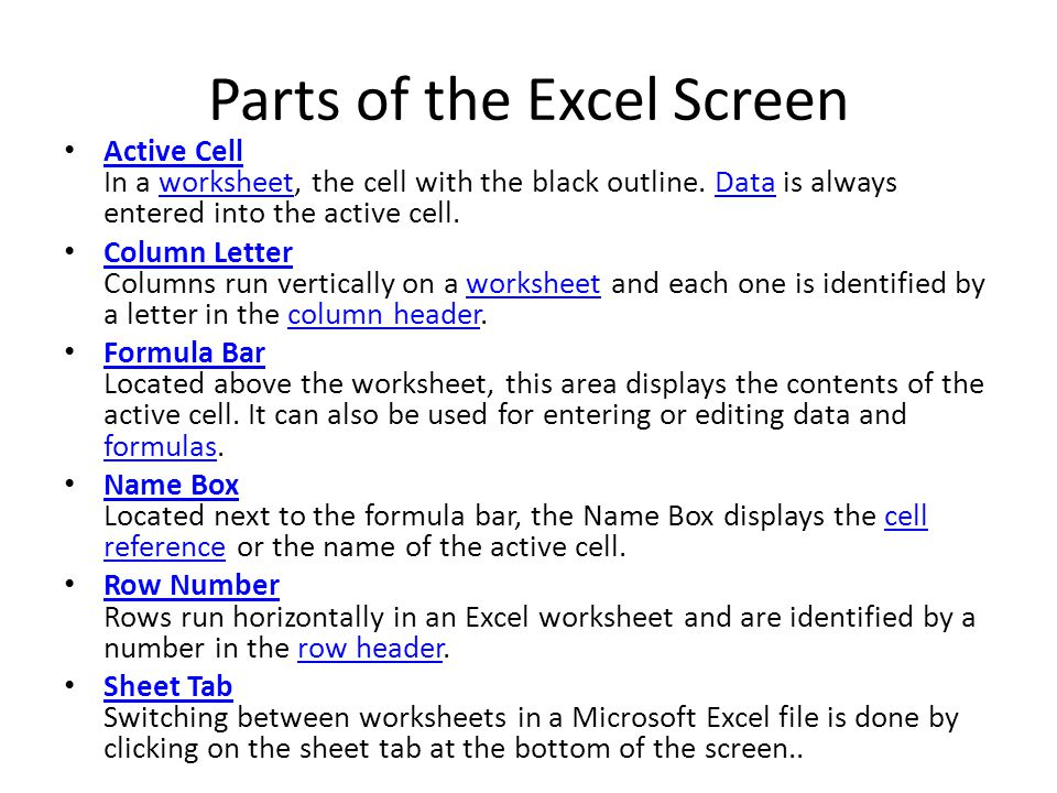 6th Grade Math Fractions Worksheets Word Microsoft Excel Is An Electronic Spreadsheet Program  Ppt Video  Free Word Problem Worksheets with North South East West Worksheets Pdf Parts Of The Excel Screen Sun Worksheets