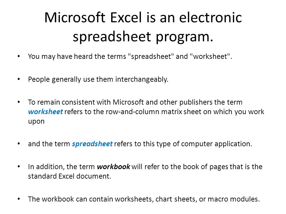 Microsoft Excel is an electronic spreadsheet program. - ppt video ...