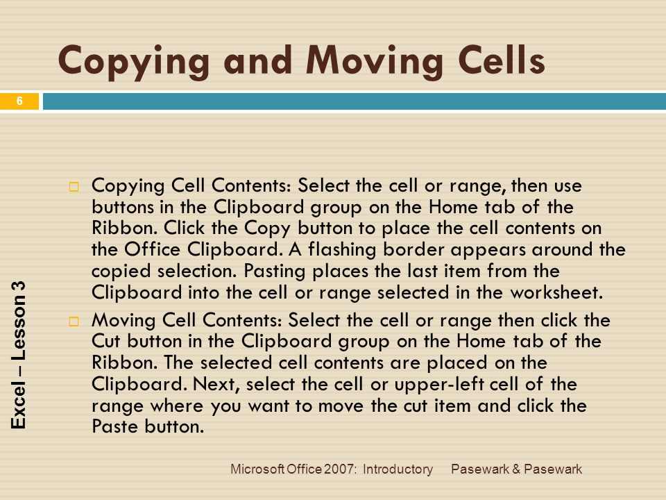 Copying and Moving Cells