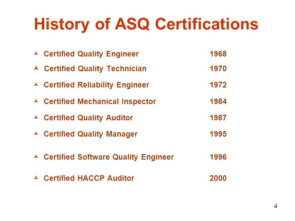 4 history of asq certifications certified quality engineer - Asq Certified Quality Engineer Sample Resume