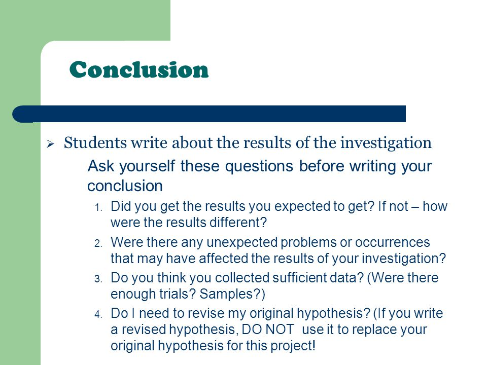How to Write a Conclusion for a Science Fair Project?