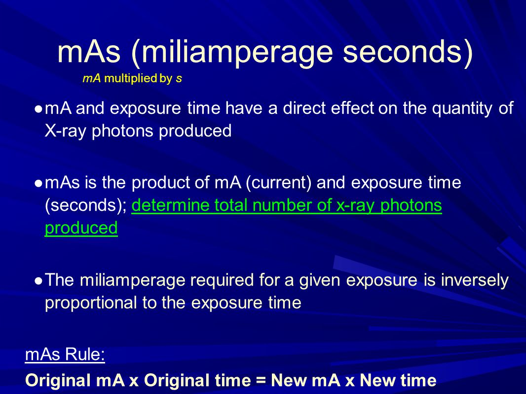 mAs (miliamperage seconds)