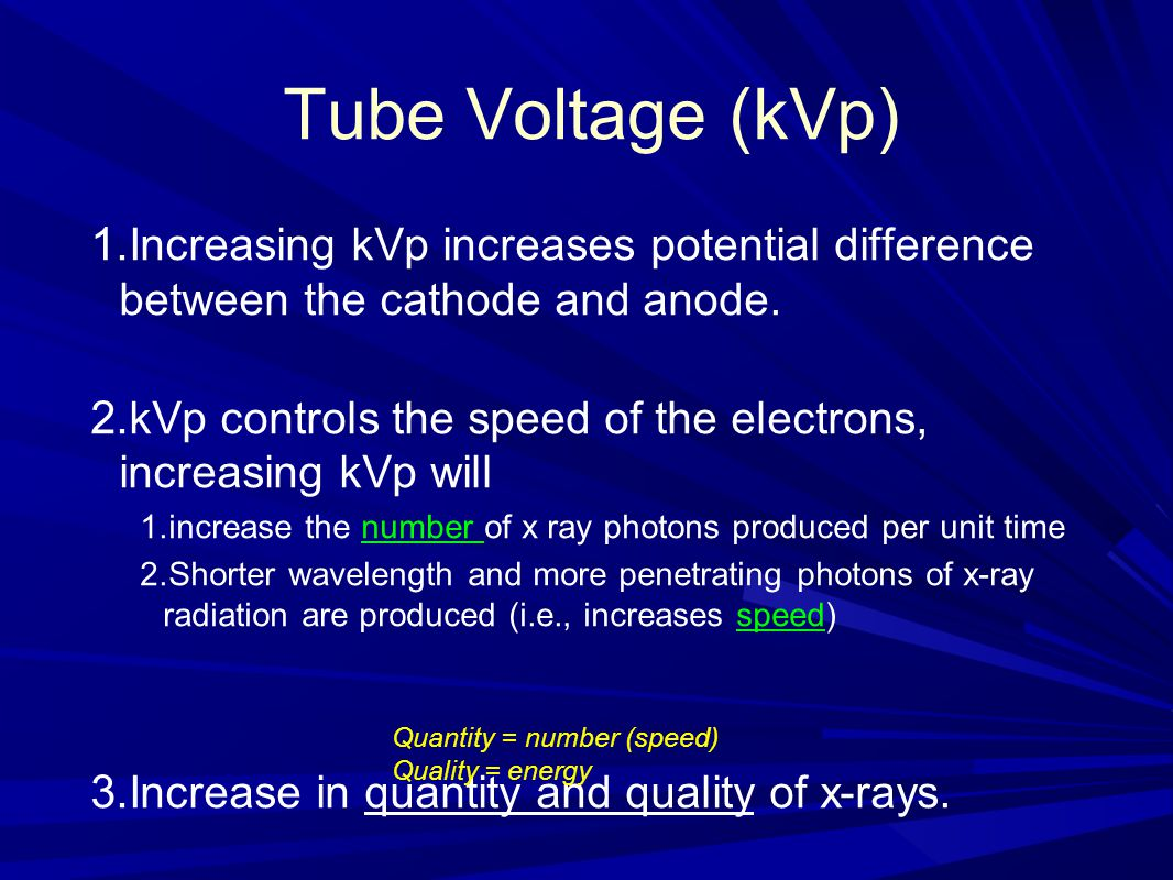 Tube Voltage (kVp) Increasing kVp increases potential difference between the cathode and anode.