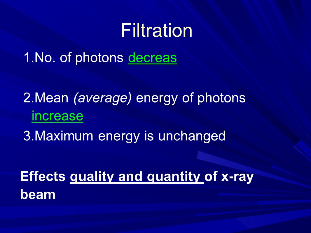 Filtration No. of photons decreas