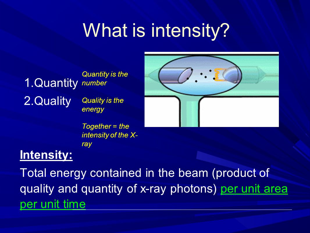 What is intensity Quantity Quality Intensity: