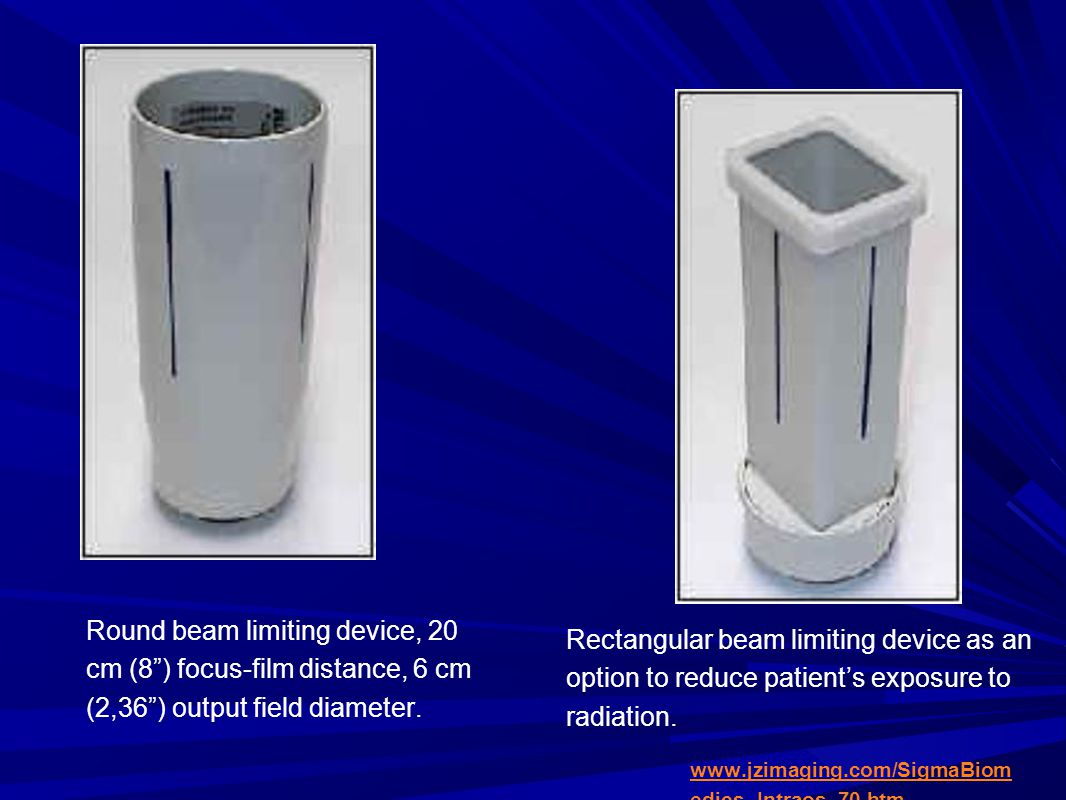 Round beam limiting device, 20 cm (8 ) focus-film distance, 6 cm (2,36 ) output field diameter.