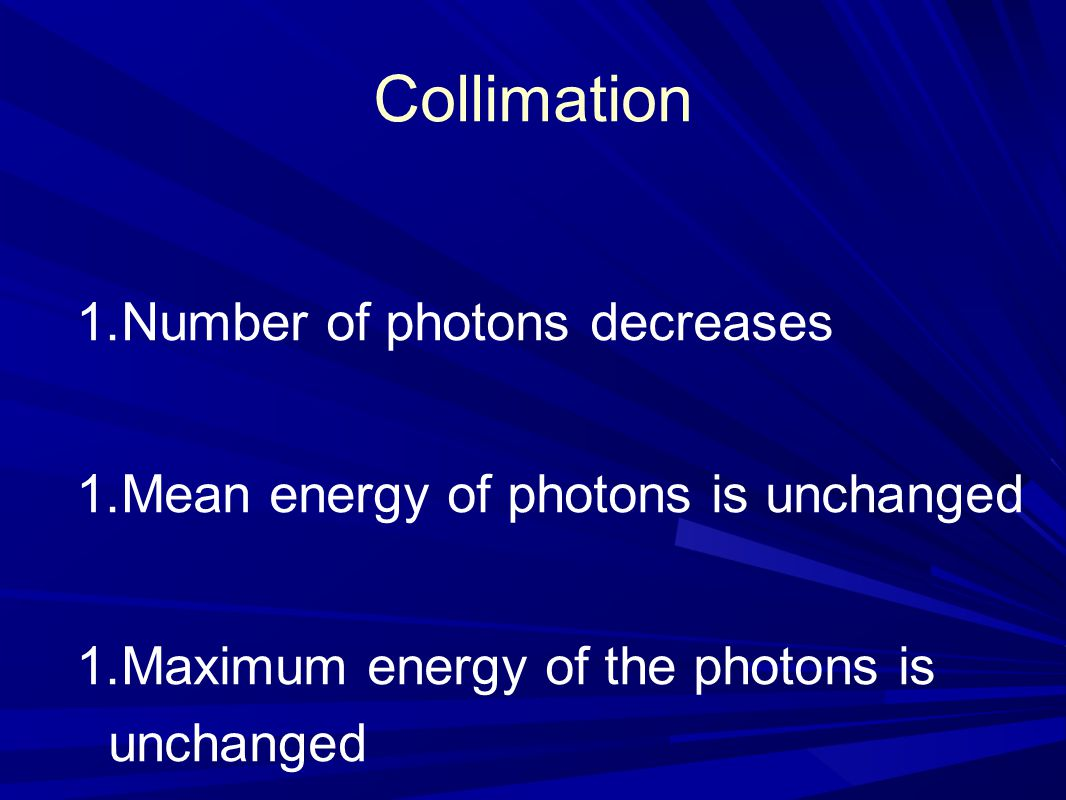 Collimation Number of photons decreases