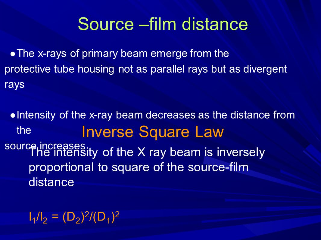 Source –film distance Inverse Square Law