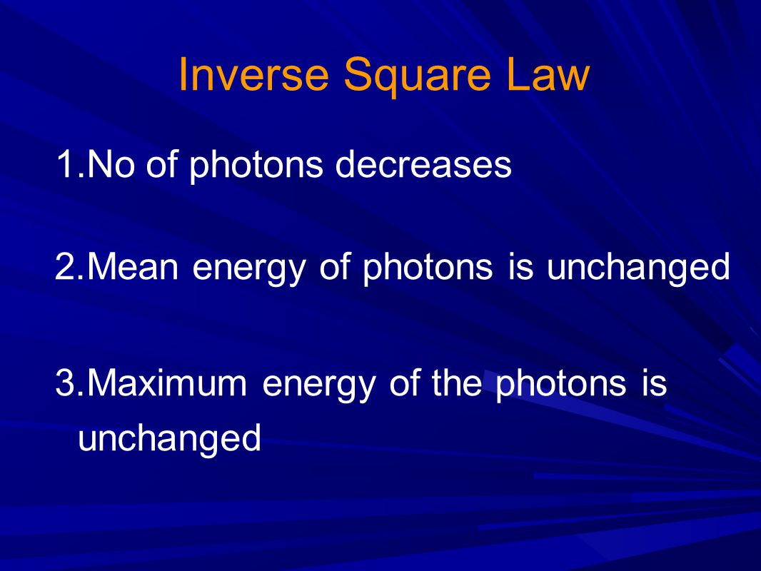 Inverse Square Law No of photons decreases