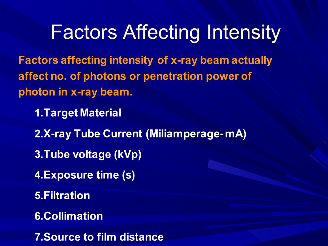 Factors Affecting Intensity