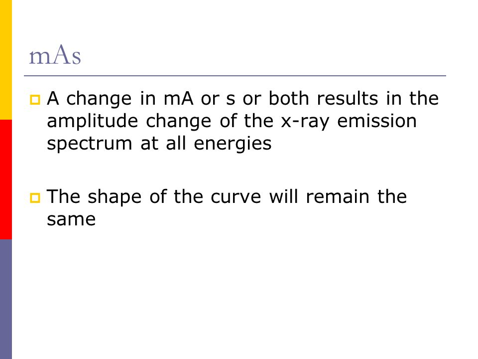mAs A change in mA or s or both results in the amplitude change of the x-ray emission spectrum at all energies.