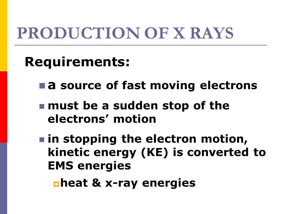 PRODUCTION OF X RAYS Requirements: a source of fast moving electrons