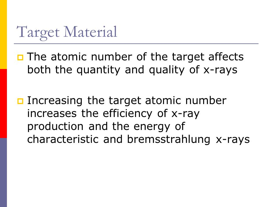 Target Material The atomic number of the target affects both the quantity and quality of x-rays.