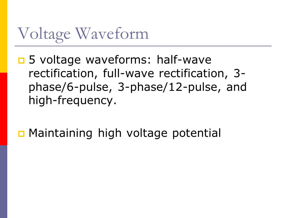 Voltage Waveform 5 voltage waveforms: half-wave rectification, full-wave rectification, 3-phase/6-pulse, 3-phase/12-pulse, and high-frequency.