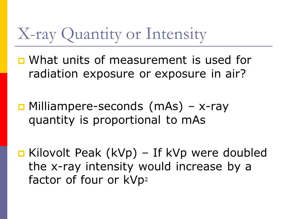 X-ray Quantity or Intensity