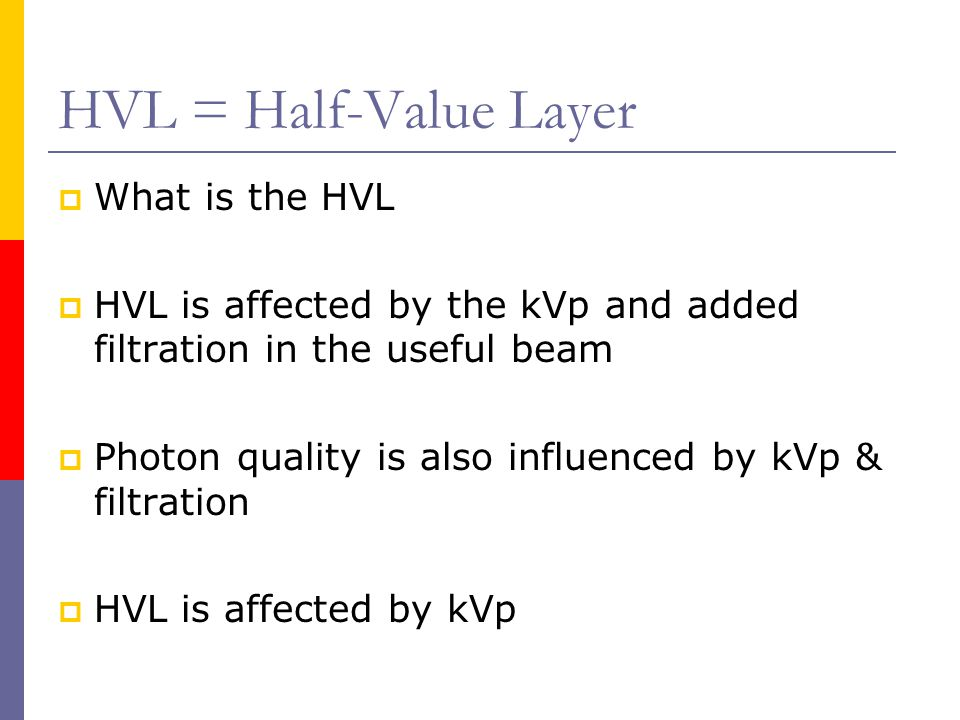HVL = Half-Value Layer What is the HVL