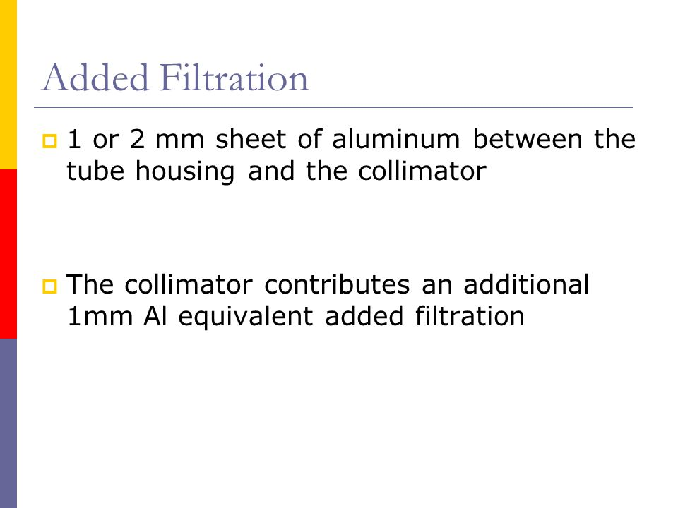 Added Filtration 1 or 2 mm sheet of aluminum between the tube housing and the collimator.