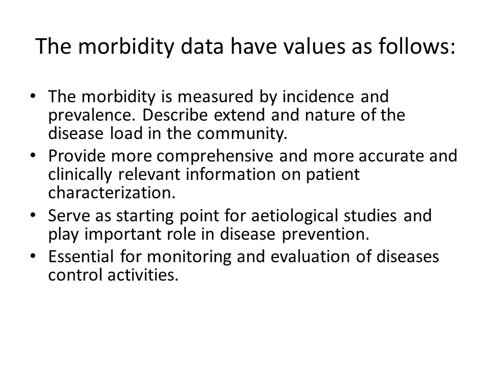 The morbidity data have values as follows: