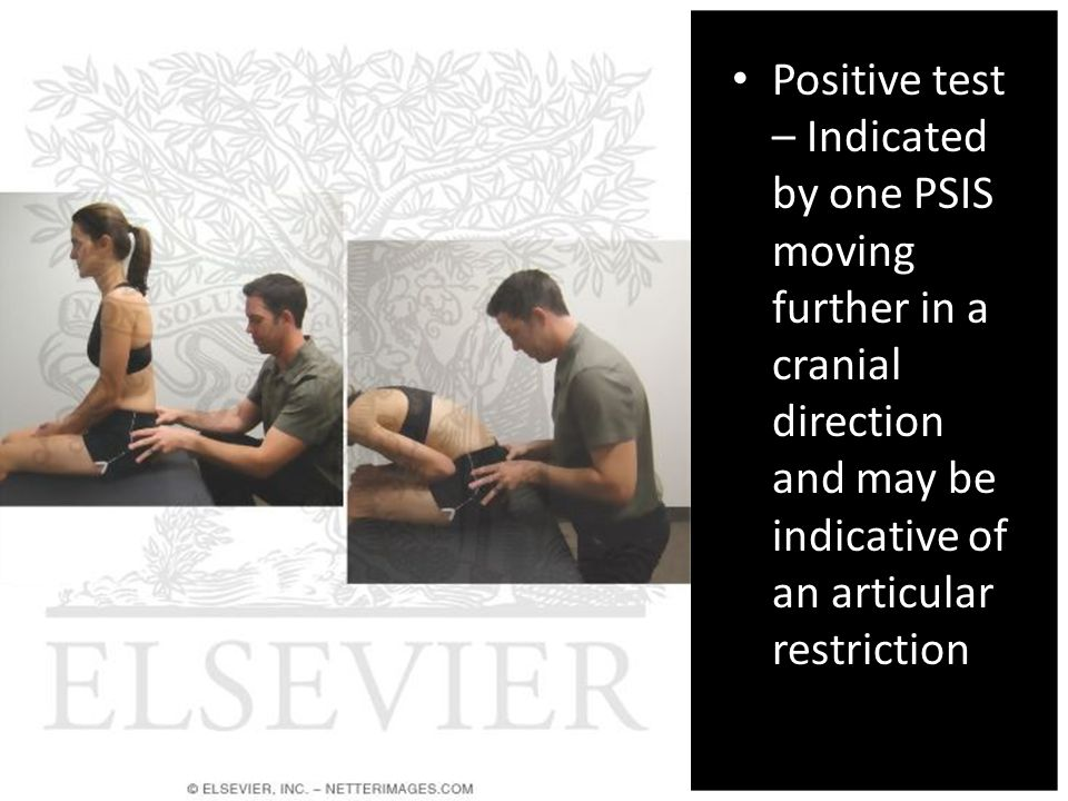 Positive test – Indicated by one PSIS moving further in a cranial direction and may be indicative of an articular restriction