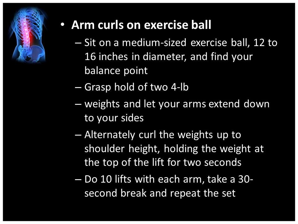 Arm curls on exercise ball