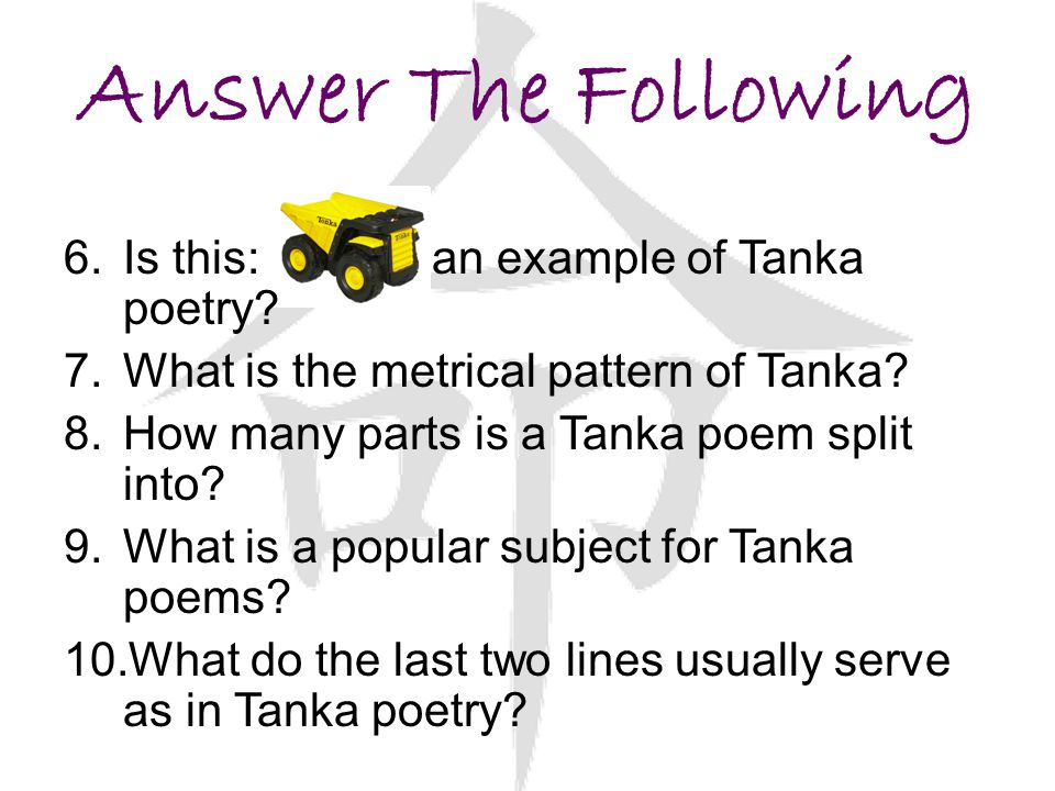 Answer The Following Is this: an example of Tanka poetry