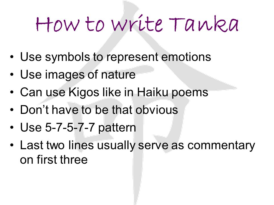 How to write Tanka Use symbols to represent emotions
