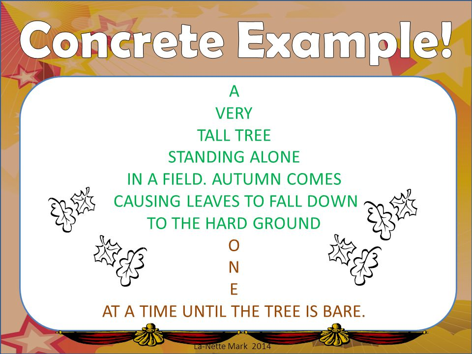 Concrete Example! A VERY TALL TREE STANDING ALONE