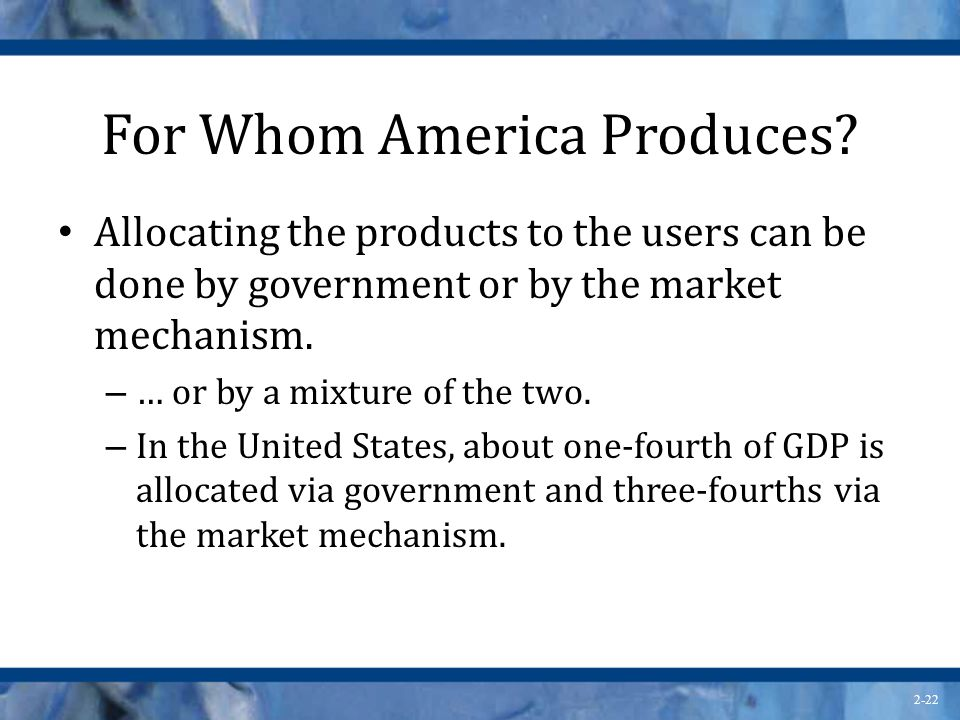 For Whom America Produces