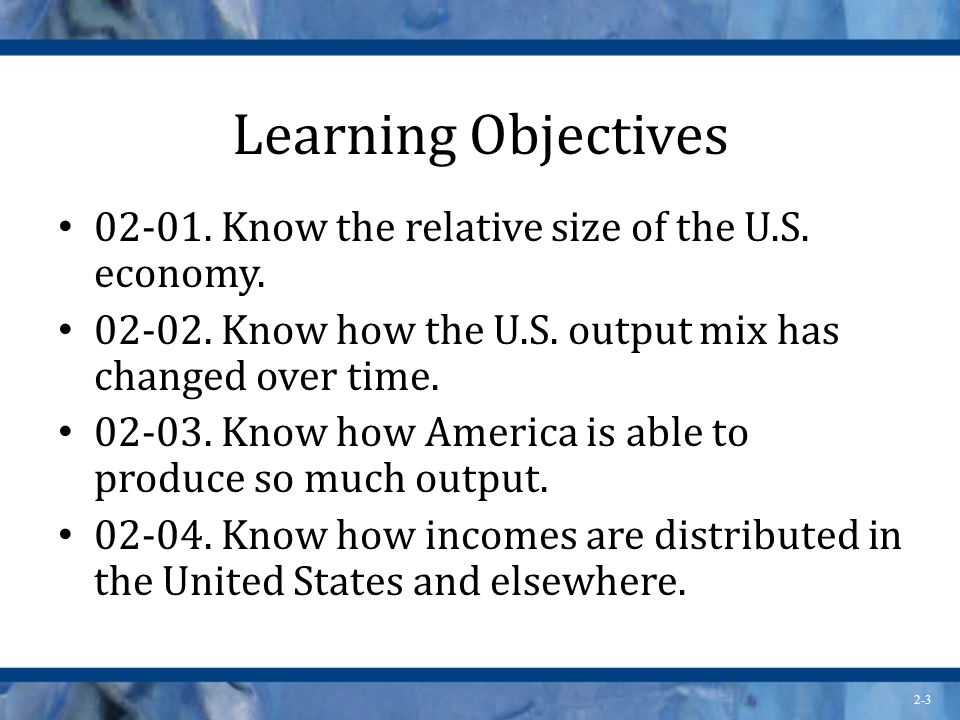 Learning Objectives Know the relative size of the U.S. economy.
