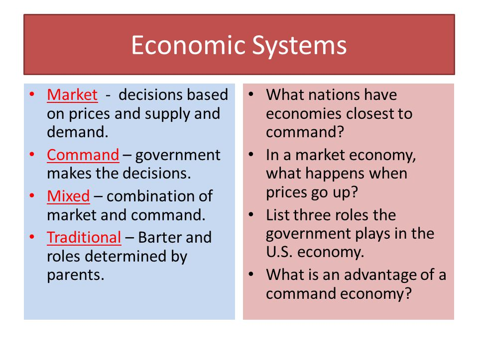 market economy command Majorly economies are of 3 types namely, market economy, command economy,  and mixed economy though traditional economy is another type but which is.