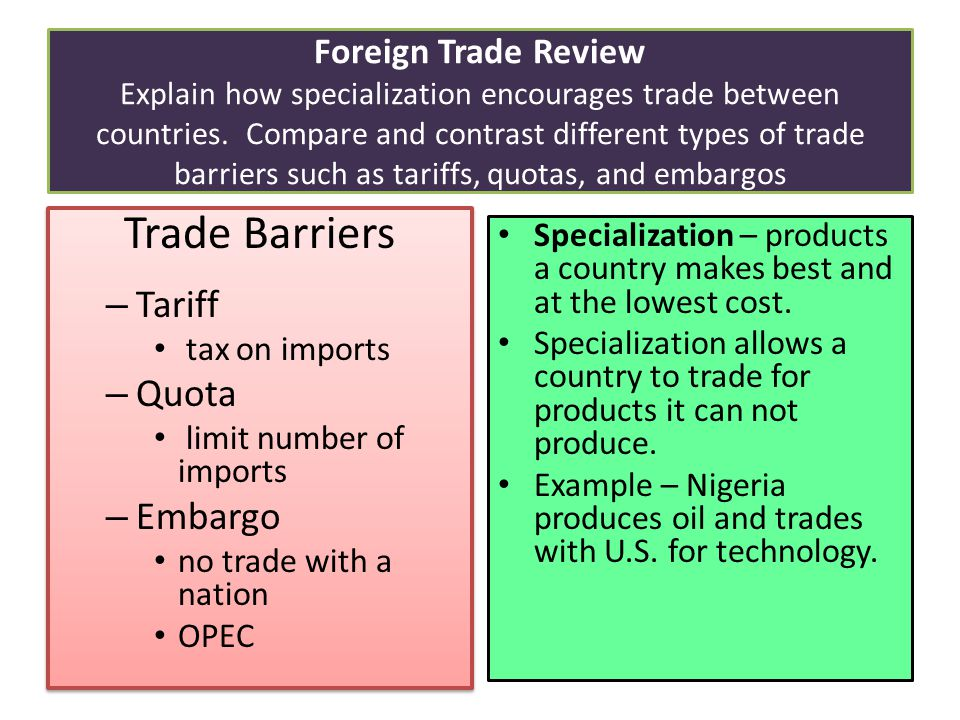 compare and contrast quotas and tariffs If a company wishes to export 5000 shoes to a nation with strict trade policies, the  government may impose a tariff or a quota on the business though both of.