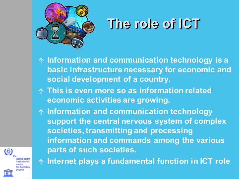 role of ict A company's information technology department plans, operates and supports an organization's it infrastructure, enabling business users to carry out their roles efficiently, productively and securely the department must meet multiple business and technical requirements, provide a secure it.
