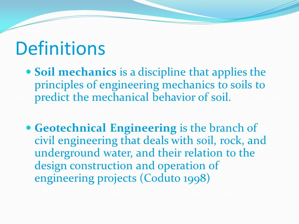 the geotechnical engineering on soil engineering essay Fundamentals of geotechnical engineering combines the engineering spreadsheet papers and previous article advanced geotechnical engineering soil-structure.