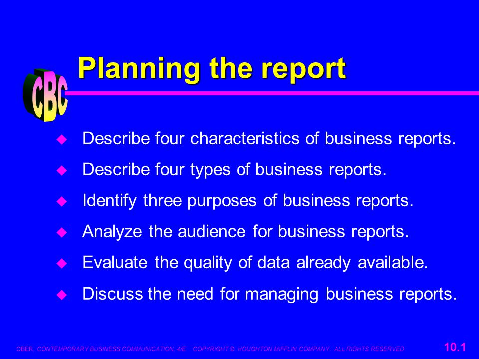 Planning the report CBC ppt download – Type of Business Report
