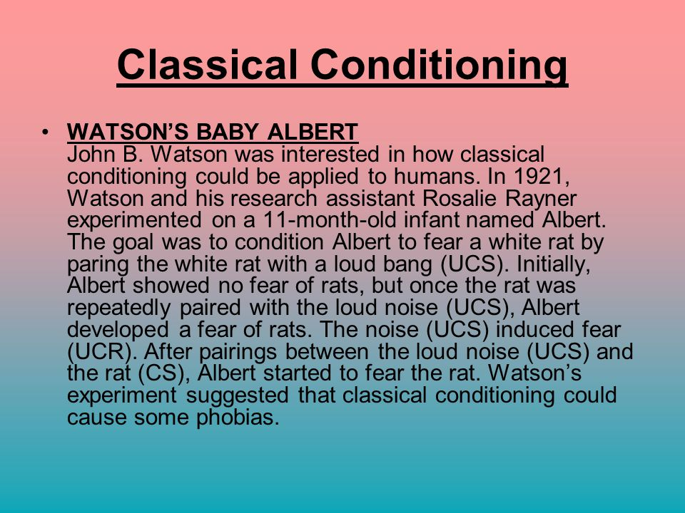 little albert classical conditioning essay Read this essay on little albert come browse our large digital warehouse of free sample essays  little albert and classical conditioning classical conditioning .