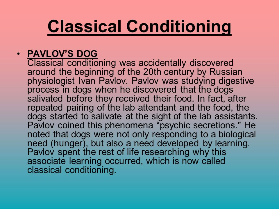 classical conditioning paper 2 Classical conditioning is one of those introductory psychology terms that gets thrown around many people have a general idea that it is one of the most basic forms of associative learning, and people often know that ivan pavlov's 1927 experiment with dogs has something to do with it, but that is.