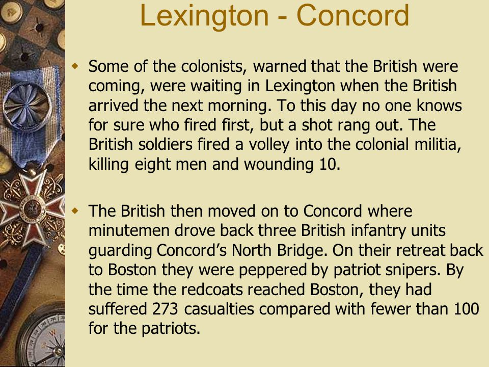 lexington and concord who fired first 2 essay No one is still sure who fired first, but it was the 'shot heard 'round the world   had occupied boston and were marching on concord as they passed through  lexington  read more about these two famous skirmishes that began the war.