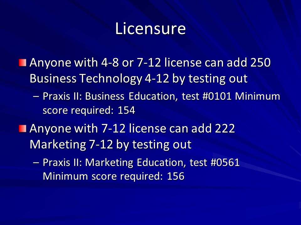 Licensure Anyone with 4-8 or 7-12 license can add 250 Business Technology 4-12 by testing out.