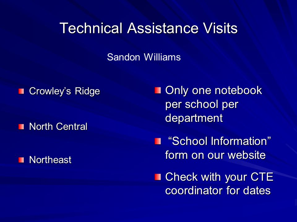 Technical Assistance Visits