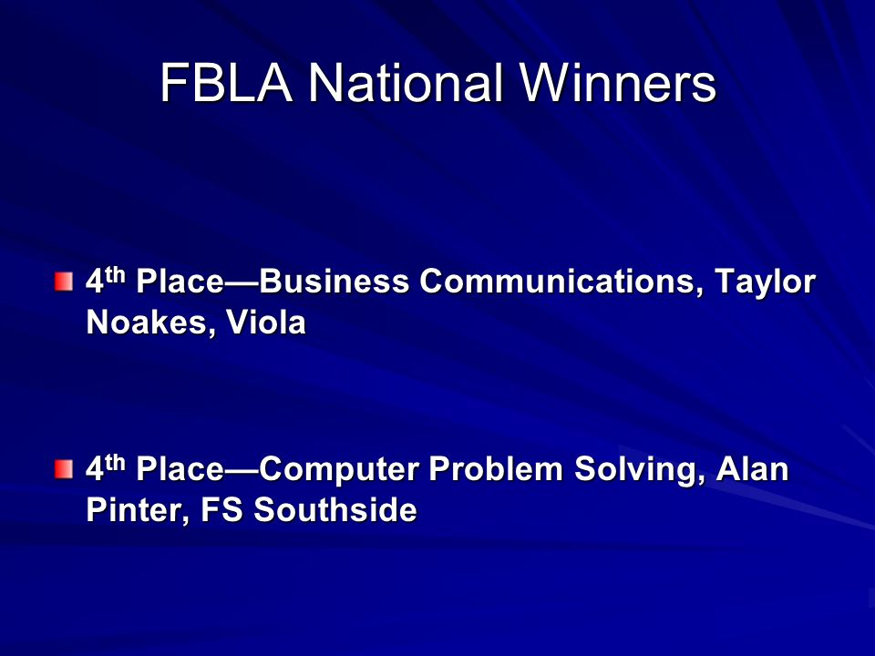 FBLA National Winners 4th Place—Business Communications, Taylor Noakes, Viola.