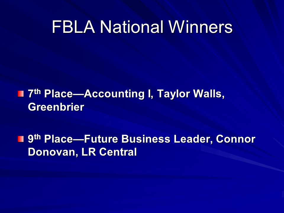 FBLA National Winners 7th Place—Accounting I, Taylor Walls, Greenbrier